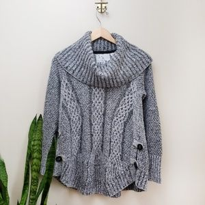 Thistle & Lavender Cowl Neck Sweater Gray